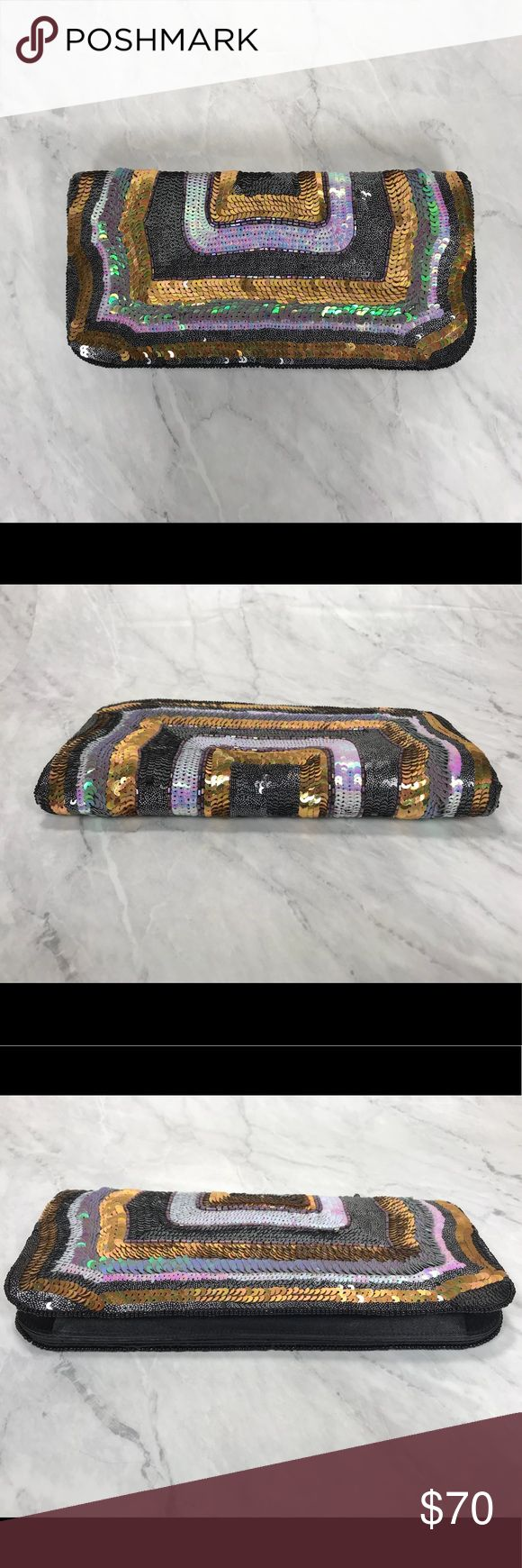 French Connection Sequin Clutch / Shoulder Bag How cute is this!?? Jazz up any outfit with this colorful yet classy number. Comes with silver tone cross body / shoulder strap. Wear it as a clutch or over your shoulder. Preloved and in great condition. Almost new! From a clean, smoke and pet free home. Ask any questions you may like! Happy Shopping! 🛒🛍 French Connection Bags Clutches & Wristlets