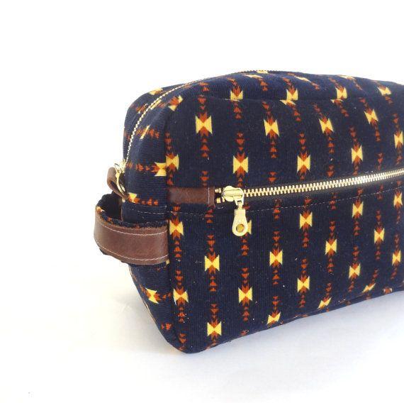 Men's Toiletry Case // Dopp Kit Bag// Wedding Gift // Travel Toiletry Pouch in Aztec Navy Corduroy