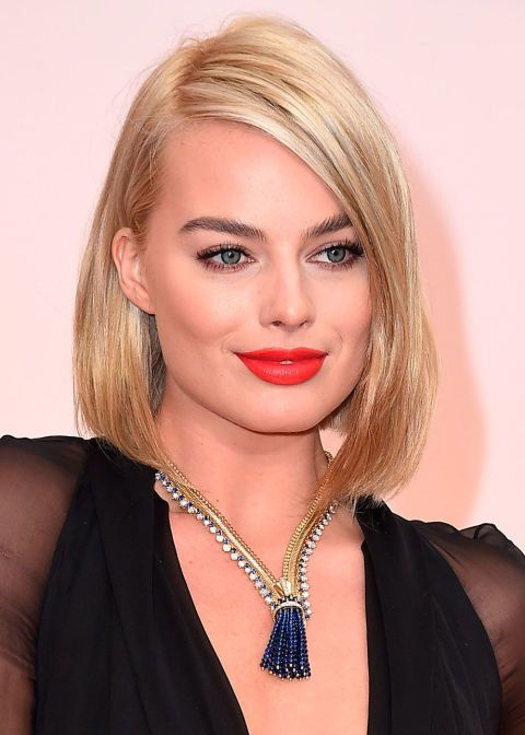 Margot Robbie teamed her long bob with a red lip at the Oscars this weekend.   Getty Images