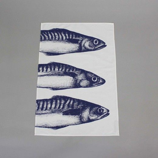 3 mackerel heads blue illustration printed on a cream tea towel made in Cornwall #nautical #seaside #sea #homeideas #homeaccessories #kitchen #UK #fish #quirky #cornwall