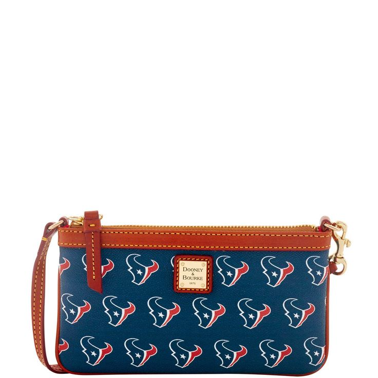 Like denim and t-shirts, or cashmere and pearls, Dooney & Bourke and the NFL are a classic fashion combination. The epitome of understated chic, this wristlet is the perfect all-in-one for your mobile phone and your cash and cards. It features a zip closure and a wrist strap.