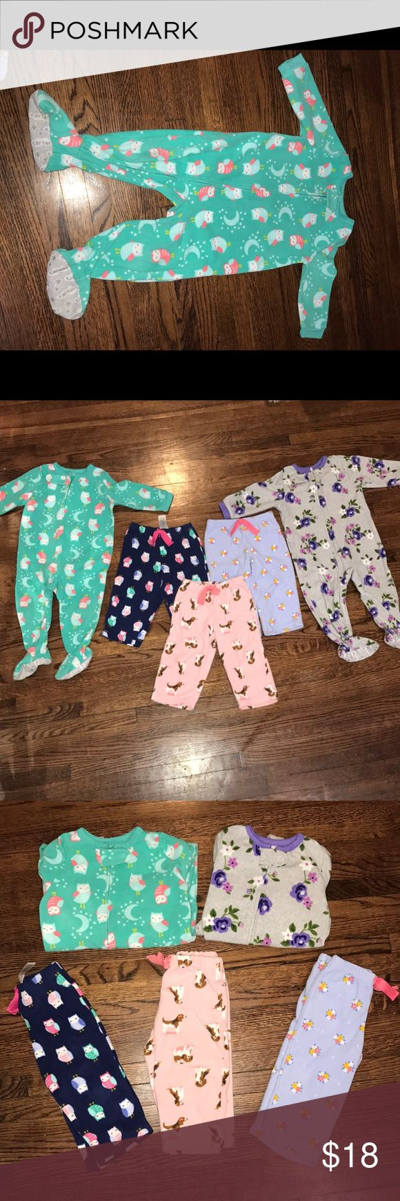 Carters 12 month fleece pajamas bundle 2 fleece feetsie pajamas  3 fleece pajama pants all carters brand all 12 months.  No stains, holes - normal wash wear. Still in very good condition Carter's Pajamas Pajama Bottoms