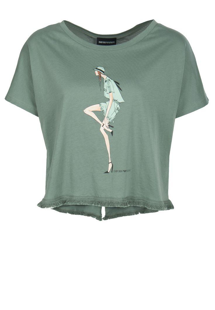 Зеленая укороченная футболка с бахромой EMPORIO ARMANI - купить по цене 15900 рублей, арт. 3Y2T55 2JK6Z - Elyts.ru