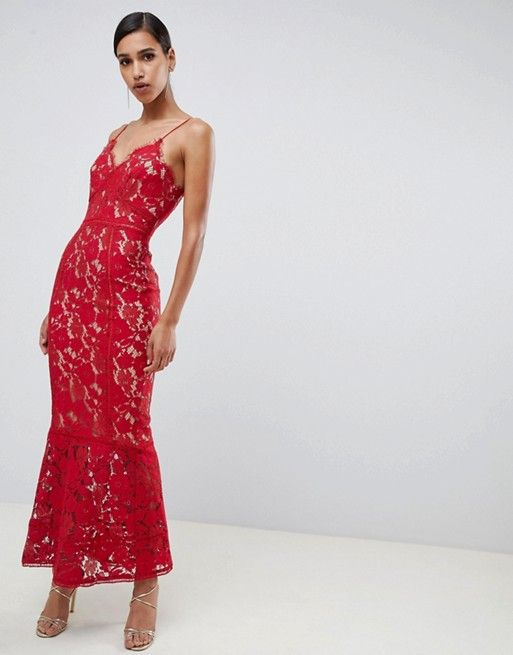 f4a039cbf379 Jarlo cami strap allover lace maxi dress in red in 2019