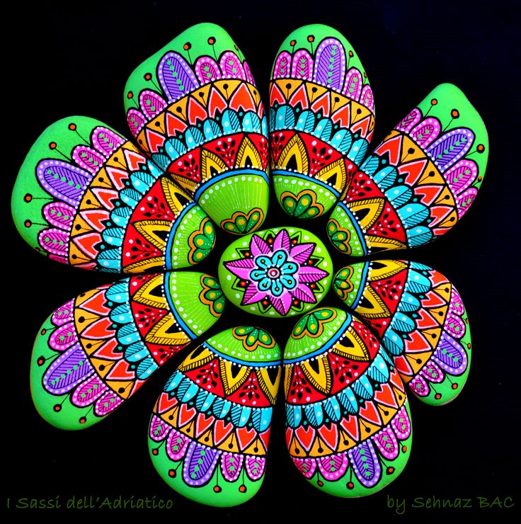Today's finished work :) A colorful flower mandala, painted on nine different pebbles. Happy & wonderful Saturday to all of you friends <3