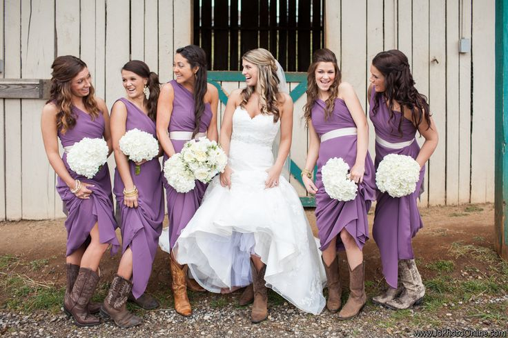 Fun Bridesmaids Photos - Purple Bridesmaids Dresses - Lilac Wedding Idas - Farm Wedding - Barn - Cowboy boots - Ivory Flowers - Bouquets - Wedding Bouquets - Knoxville TN Florist - www.lisafosterdesign.com