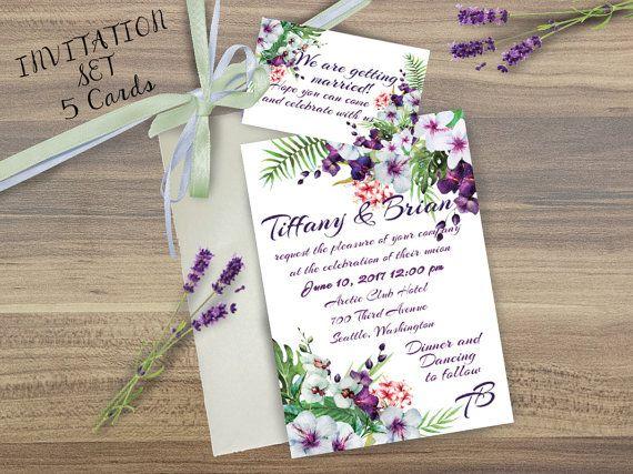 Wedding invitation SET, Floral wedding invitation, lavender floral wedding invitation, floral Wedding Card, Orchid wedding, Tropical flowers