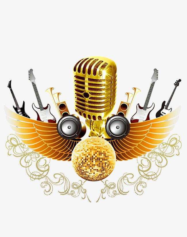 Golden Microphone Music Art Print Poster Background Design Music Images