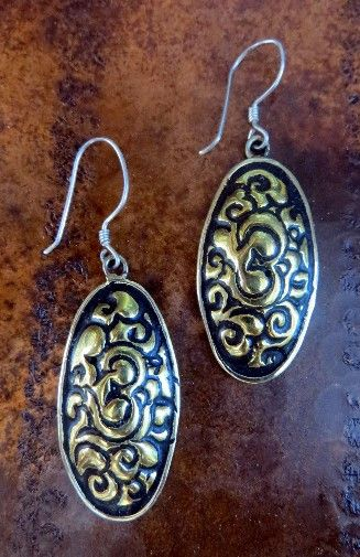 Oval Hand Pounded Brass with Sterling Earring