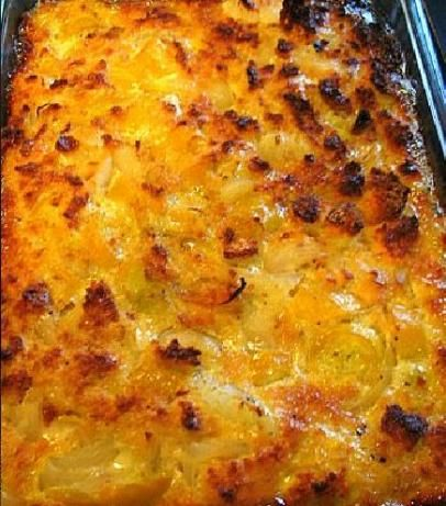 Squash Casserole...tried and true...roast the squash instead of cooking in water...use Better Than Boullion Chicken Base instead of cubes...freezes well...you're welcome =)