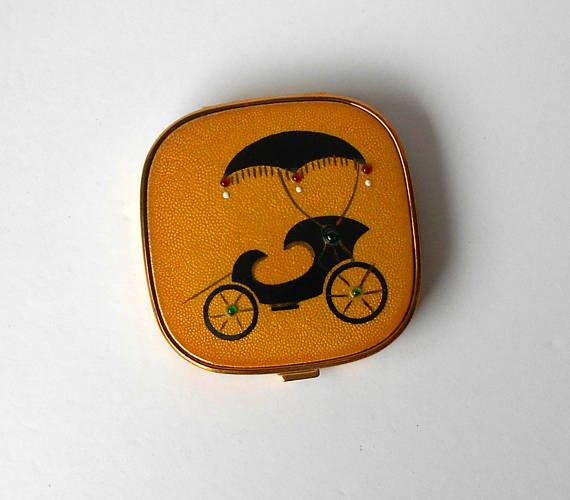 Vintage Evans Buggy Enamelled Jewelled Powder Compact with Buggy as NEW