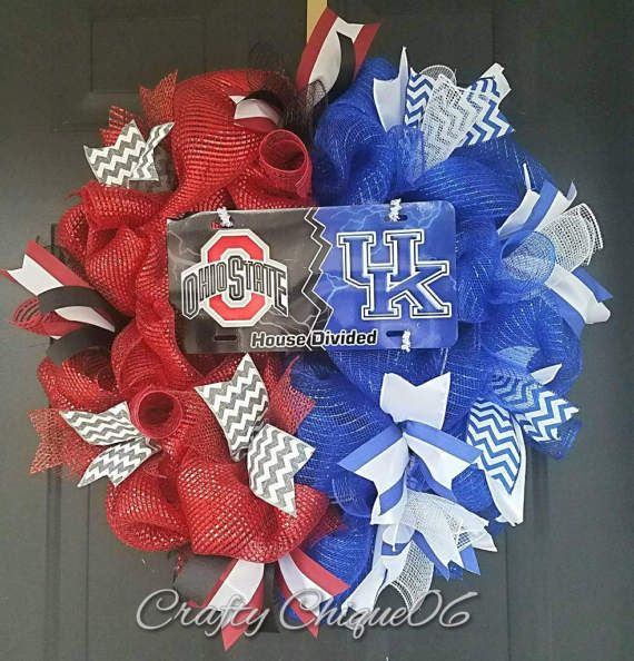 Check out this item in my Etsy shop https://www.etsy.com/listing/506960976/house-divided-wreath-college-teams-any