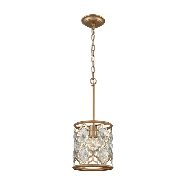 Armand 1 Light Pendant In Matte Gold With Clear Crystal - Includes Recessed Lighting Kit