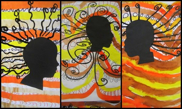 auteur: Stasia projet Afrique en MS et GS Une collègue travaille sur l'Afrique. Si tu penses utile de diffuser quelques travaux réalisés l'an dernier par mes MS/GS. technique pour les femmes africaines : -cadre intérieur au crayon de papier par l'adulte,...