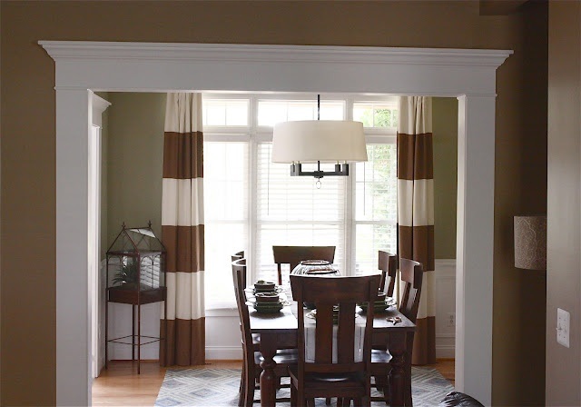 Stiped Drapes Ginger And White The Yellow Cape Cod Client Dining Room Makeover Before And