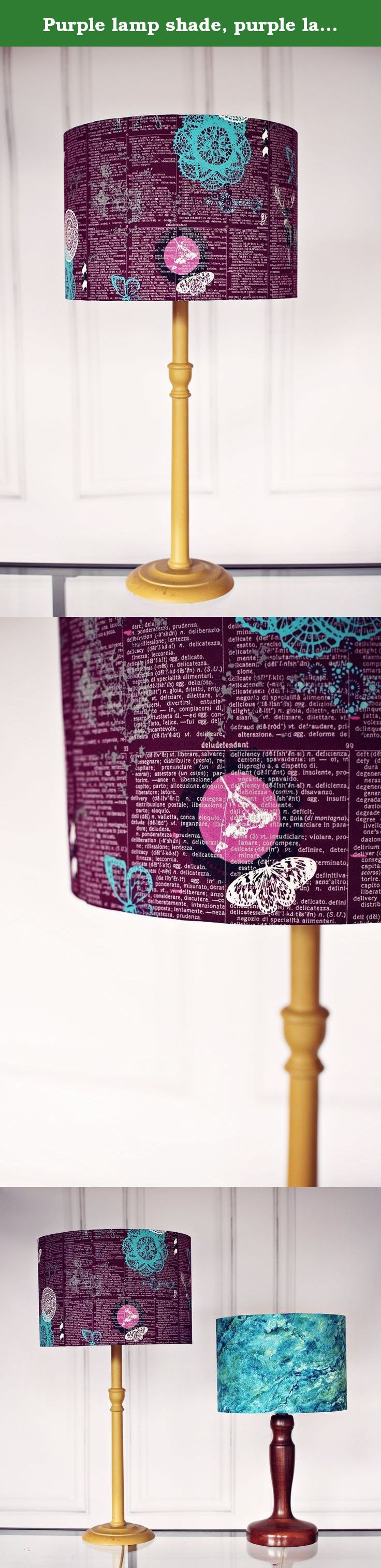 Purple lamp shade, purple lamp, lampshade, lamp shade, drum lampshade, woodland lamp shade, deer lamp, table lamp, pendant light, lighting. This Purple lampshade features a magical Art Gallery fabric designed by Katarina Roccella. The Plum fabric has white writing on it and there are pictures from nature such as deer and butterflies over the top. The fabric features the colours of plum, pewter, turquoise and auburn. The shade has a contemporary feel and looks beautiful in the home. br…