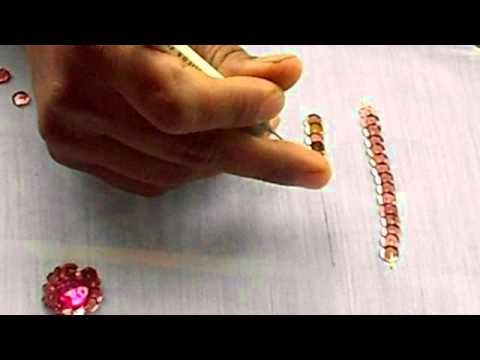 AARI / TAMBOUR /MAGGAM EMBROIDERY: how to sew a Sequin or chumki in a fabric with a aari needle