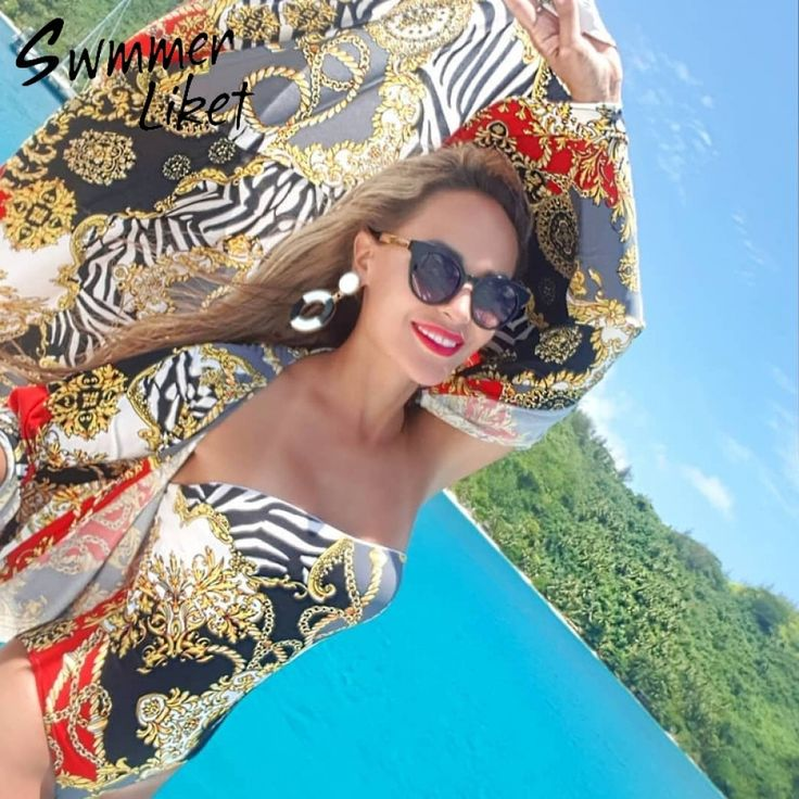 Vintage print long beach dress women sarong Summer fashion beach wear swimsuit cover up 2019 Tunic for women kaftan cover-ups