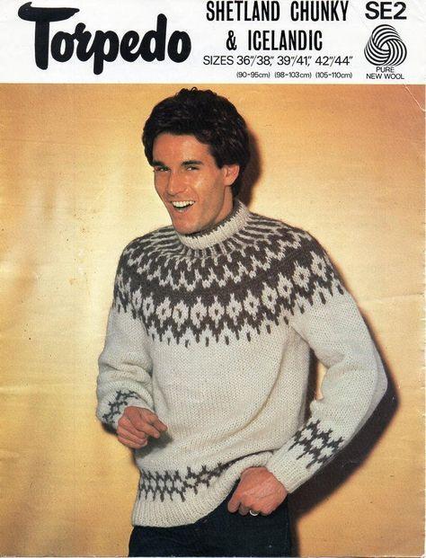4a95cbcecab20c mens icelandic sweater knitting pattern pdf mens fair isle yoke jumper  36-44