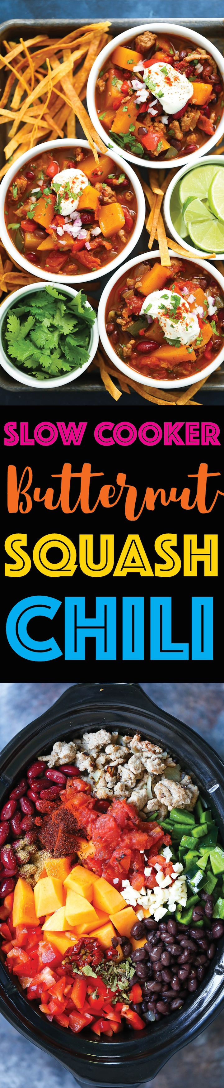 Slow Cooker Butternut Squash Chili - Just 20 min prep! Then you can come home to a cozy, hearty, comforting butternut squash turkey chili in the crockpot!