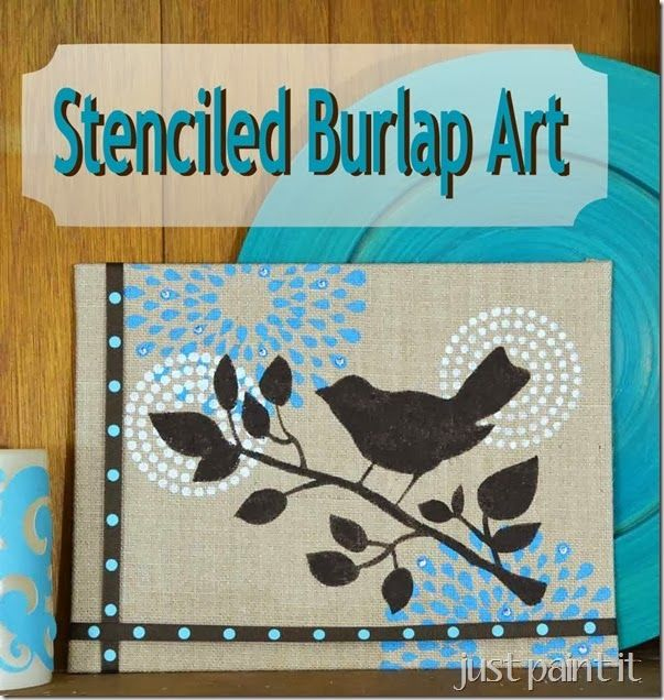 How to stencil a burlap canvas, add a little ribbon and embellish with a few crystals for an adorable showpiece!