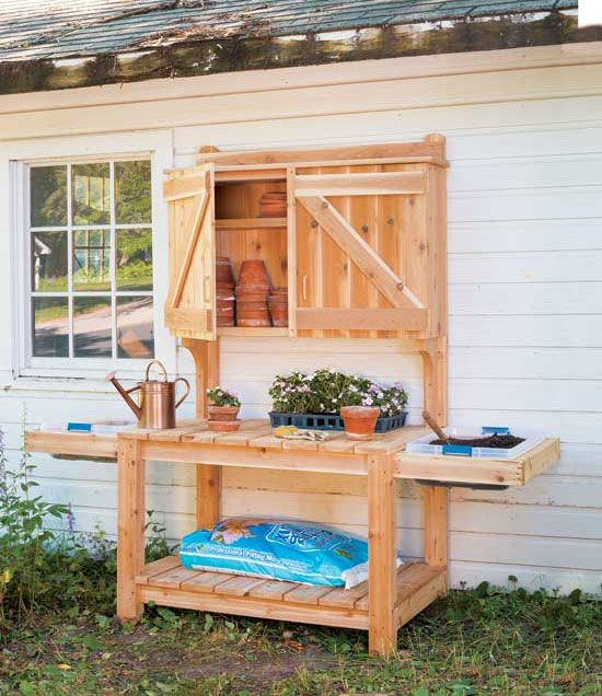 DIY Potting Bench Plans -- Gardeners will dig these DIY potting bench plans for increasing their outdoor garden storage. Do-it-yourselfers can build the potting bench only, or keep hammering and finish it with a garden storage cabinet.