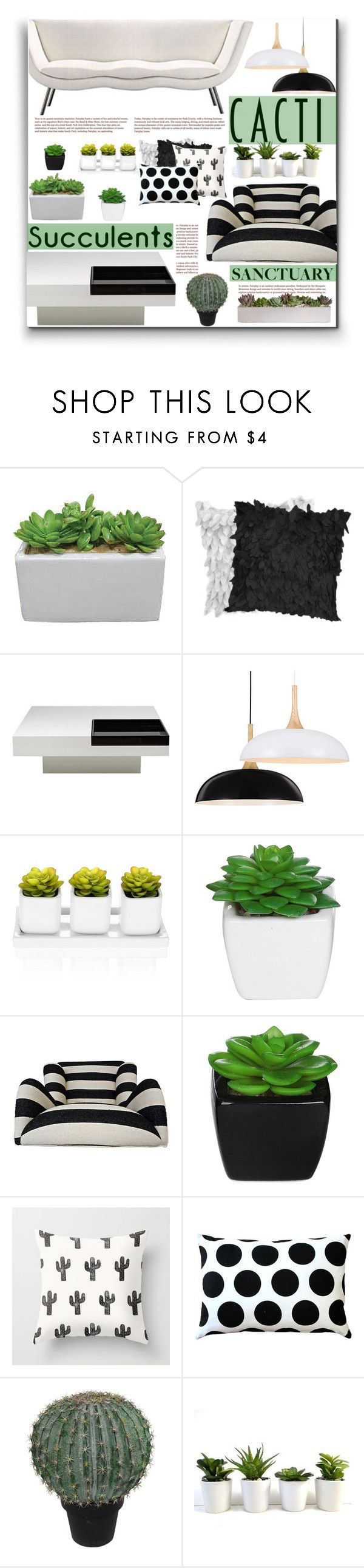 """""""Cacti and Succulents"""" by fassionista on Polyvore featuring interior, interiors, interior design, home, home decor, interior decorating, Whiteline Imports, Pillow Decor, Abigail Ahern and decor"""