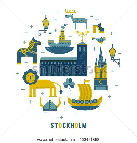 Vector set of characters with elements of Swedish design. Town Hall. A lion. Horse Dali. Vikings. It could be used for greeting cards, invitations, posters, flyers and other printed materials.