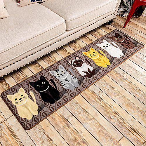 Bathroom Rugs Ideas | SimpleLife4U Fashion Cats NonSlip Machine Washable  Kitchen Rug Home Decor Bedroom Floor