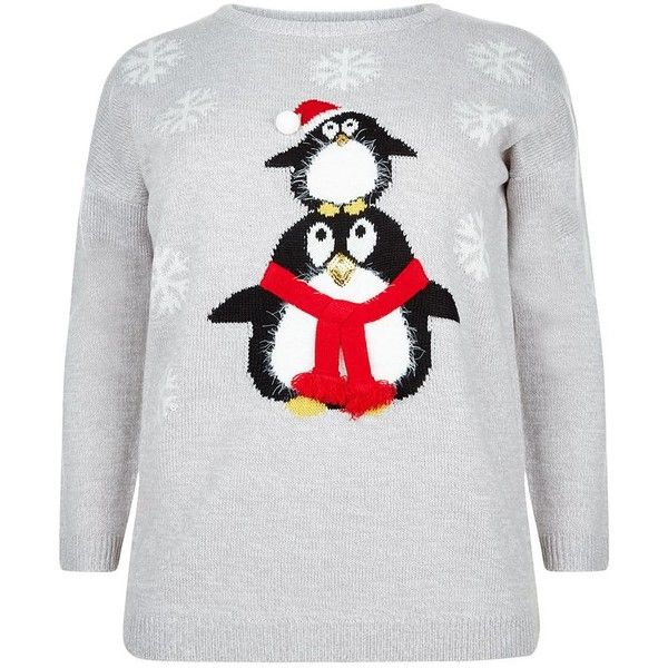 Plus Size Grey Santa Penguin Jumper (1,645 PHP) ❤ liked on Polyvore featuring tops, sweaters, plus size christmas tops, plus size christmas sweaters, grey long sleeve sweater, long sleeve tops and womens plus sweaters