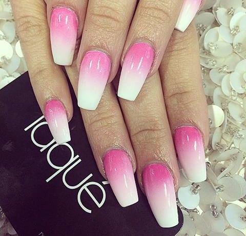 Pink And White Ombre Square Coffin Nails Pinterest Nails