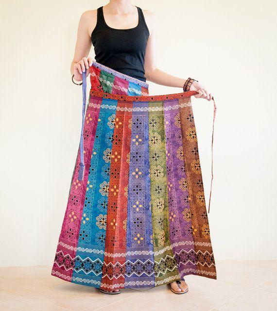 Wrap Around Pleated Long Skirt Patchwork by AmazingThaiStore, $37.00
