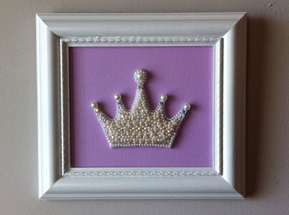 Princess Crown Decor/Lilac Art/Beaded Pearl by MissigirlDesigns, $68.00