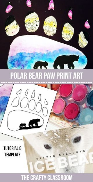 This stunning Arctic craft uses a bear paw print template. Children use watercolor, ink and oil pastel to create a beautiful winter scene of a polar bear and her cub. The second layer shows a seal hiding in it's den, implying what the polar bear might be hunting for. Materials: Polar Bear Paw Template Black …