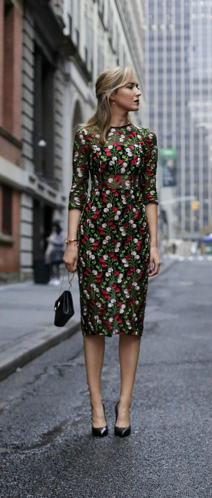green, red and pale pink embroidered midi length cocktail sheath dress with sheer panels perfect for cocktail attire office holiday parties