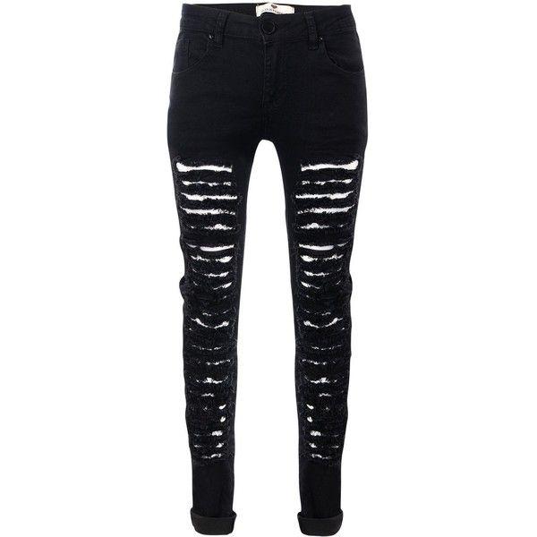 Glostory Women's Ripped Black Skinny Denim Jeans Distressed Hole... ($17) ❤ - Best 25+ Ripped Black Skinny Jeans Ideas On Pinterest Black