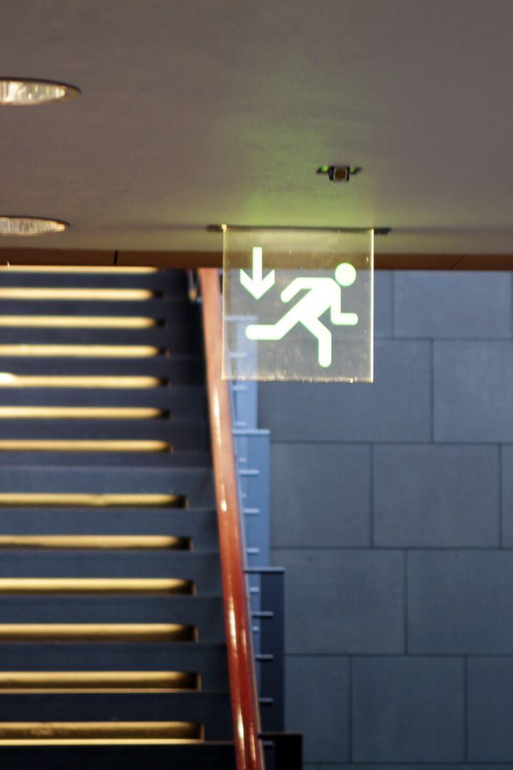 Ráðhús Reykjavíkur, Reykjavik by Studio Granda. Exit Signage.