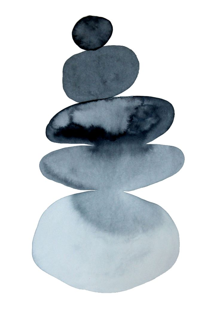 BALANCING STONES  no. 01 by Chelsea H-A Minimalist watercolour painting, based on the art of stone balancing. www.ChelseaH-A.com