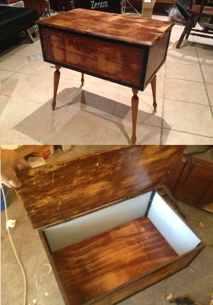 after shots of medium sized trunk, distressed by hand and painted