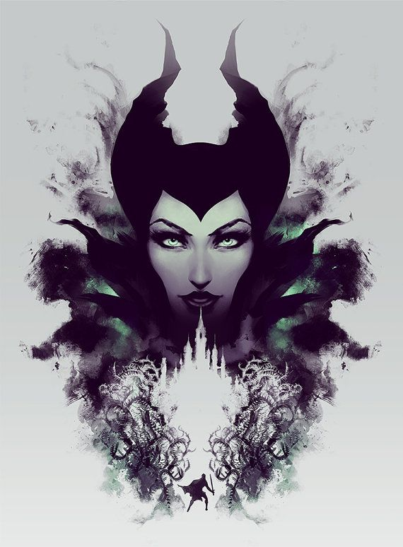 Maleficent Disney Sleeping Beauty Rorschach style by jefflangevin, $30.00