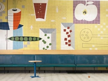 The Cafeteria features 1950s tile murals by Carter & Co