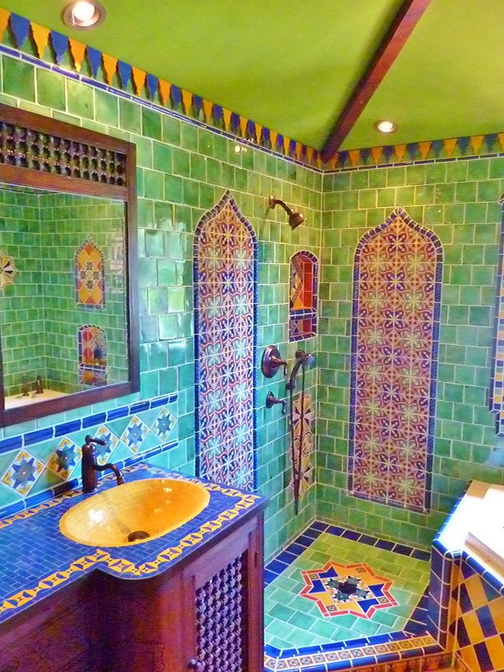 Moroccan themed bathroom using Turkish, Moroccan and Mexican tiles.This Bath serves the 4 Bunk Bedroom.                                                                                                                                                     More