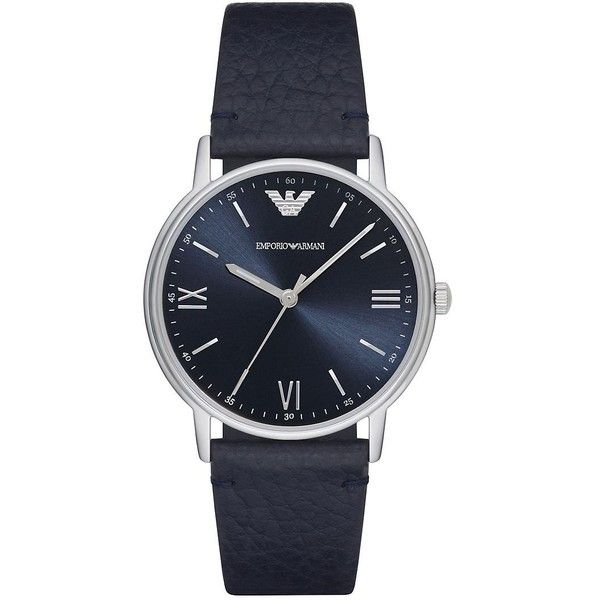 Emporio Armani Men's Kappa Stainless Steel Leather-Strap Watch (565 BRL) ❤ liked on Polyvore featuring men's fashion, men's jewelry, men's watches, blue, mens watches, men's analog digital watch, mens water resistant watches, mens diamond bezel watches and emporio armani mens watches