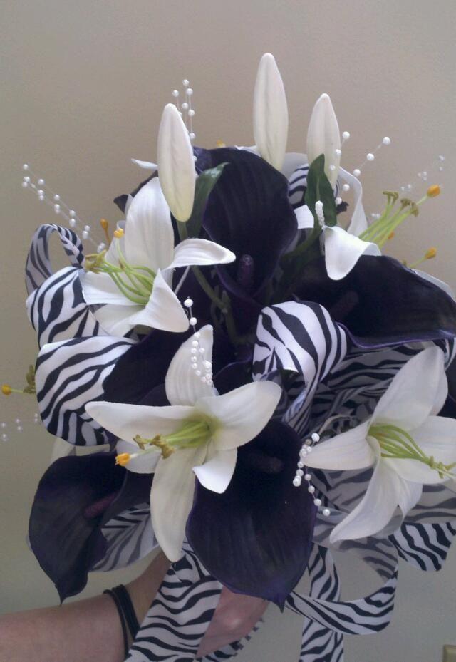 Zebra wedding bouquet  Simplysilksfw.com
