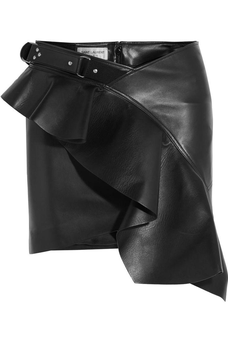 Saint Laurent | Ruffled asymmetric leather mini skirt | NET-A-PORTER.COM€2,990