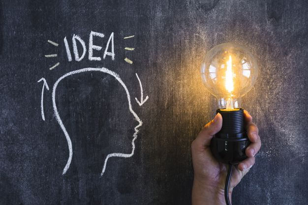 Download Idea Text Over The Outline Head With An Illuminated Light Bulb In Hand For Free Bombillas Idea Esquemas