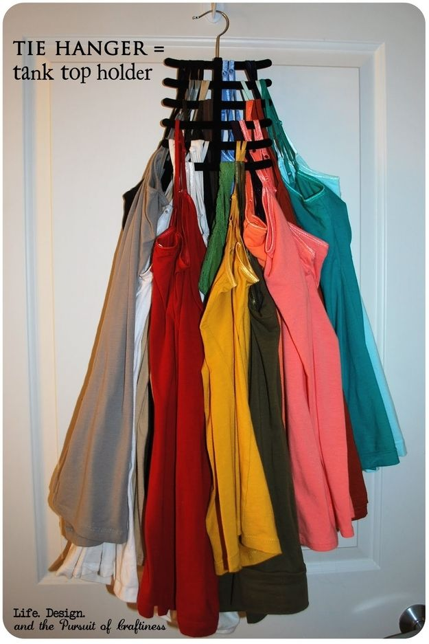 Dont let your tank tops take up all of your space. Use a tie holder to hang them.