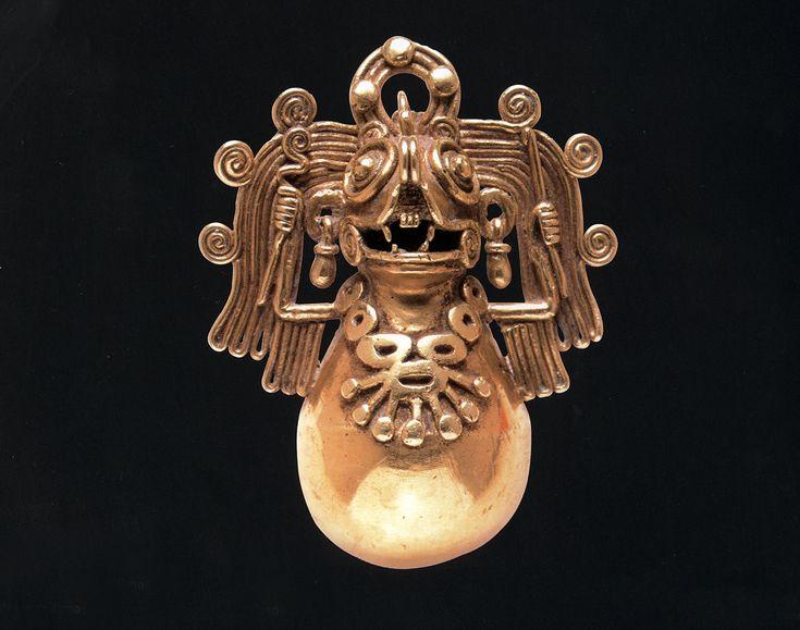 Mixtec Gold Artifacts Bat Bell Pendant 1500 AD