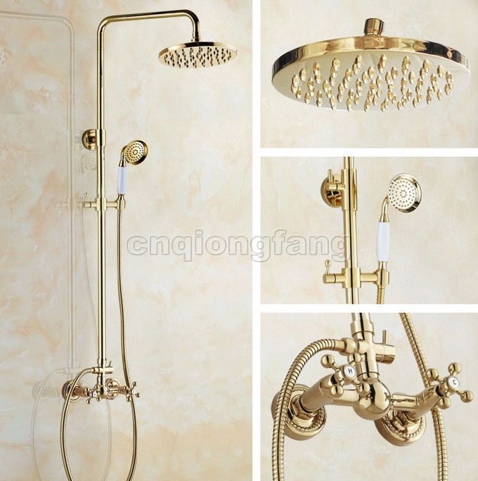 Gold Color Brass Bathroom Rain Shower Faucet Set Dual Handles Mixer Tap  Cgf332103 best Dream Bathroom Renovation images on Pinterest   Dream  . Gold Bathroom Taps Ebay. Home Design Ideas