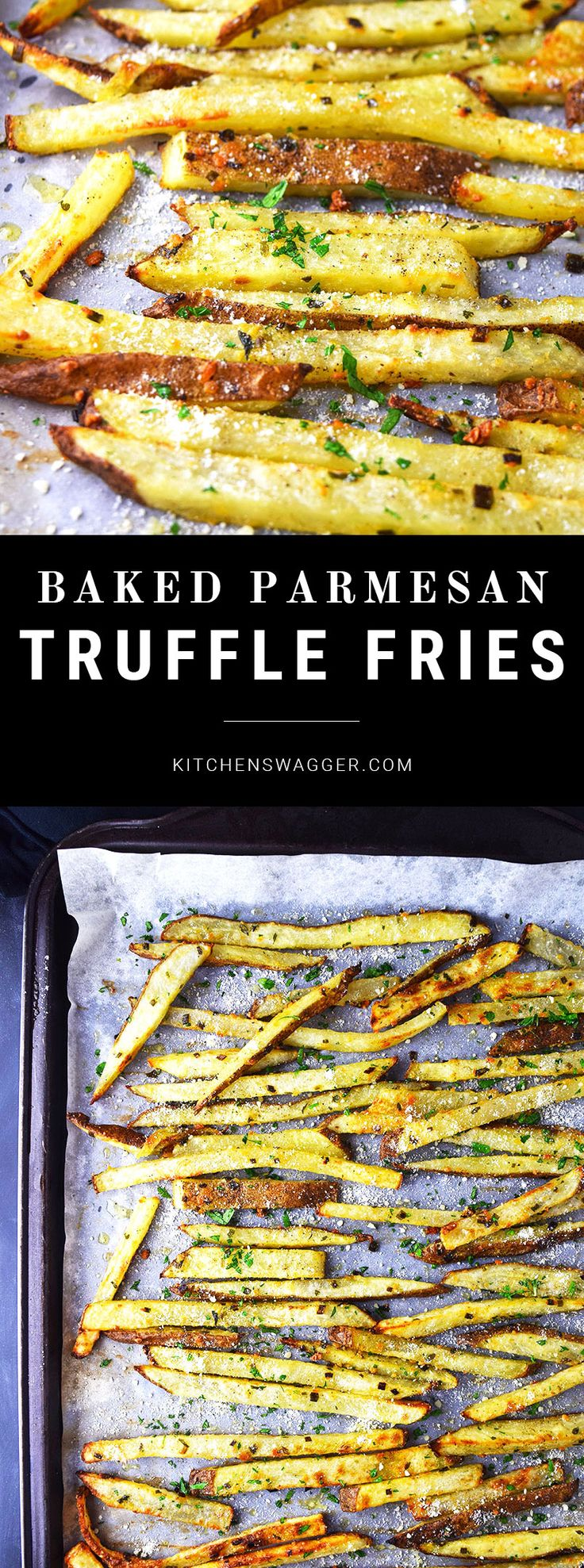 Crispy baked hand cut fries made with truffle oil, spices, and parmesan cheese.